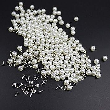 TOOGOO 200pzs 6MM Remaches de perla de imitacion Accesorios de la ropa DIY Remache de perla espiga para ropa sombrero bolsa Decoracion de artesania Juego de remaches y perlas: Amazon.es: Bricolaje y