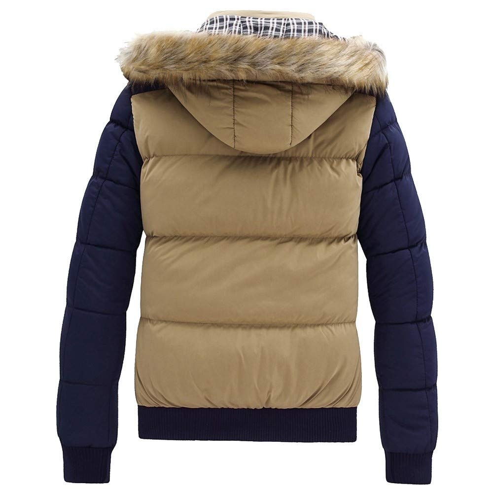 Mens Down Jacket,Fashion Faux Fur Removable Hooded Quilted Jacket Zipper Line\t Puffer Outerwear Coat Zulmaliu