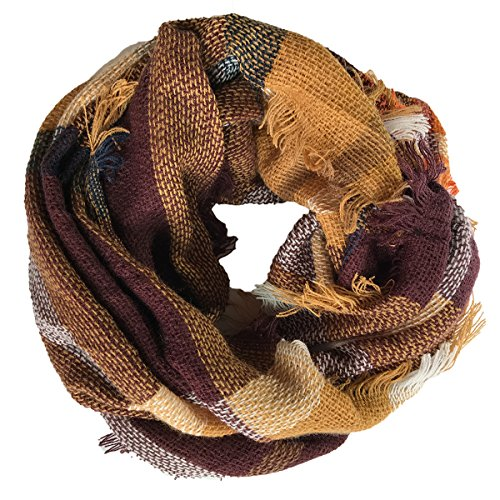 Deacroy Unisex's Infinity Scarf Checked Winter Warm Cozy Soft Loop Plaid Scarf, Brown, 39.4 x 19.7inches