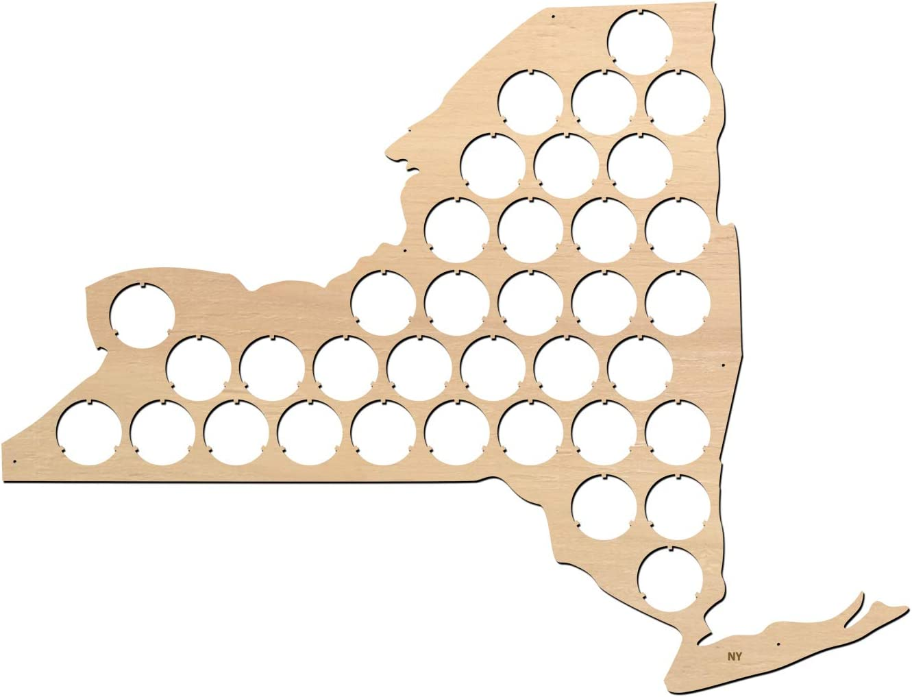 All States Beer Cap Map New York – 16x12,2 inches – 36 caps – NY Beer Cap Holder – Birch Plywood