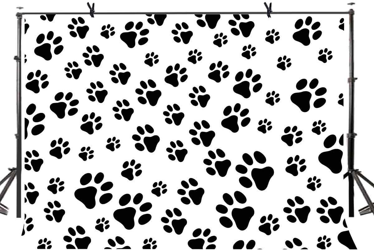 CdHBH Dog Paw Backdrop Puppy Cartoon Backdrop for Birthday Pet Theme Party Banner Kids Photography Background LYZY0260