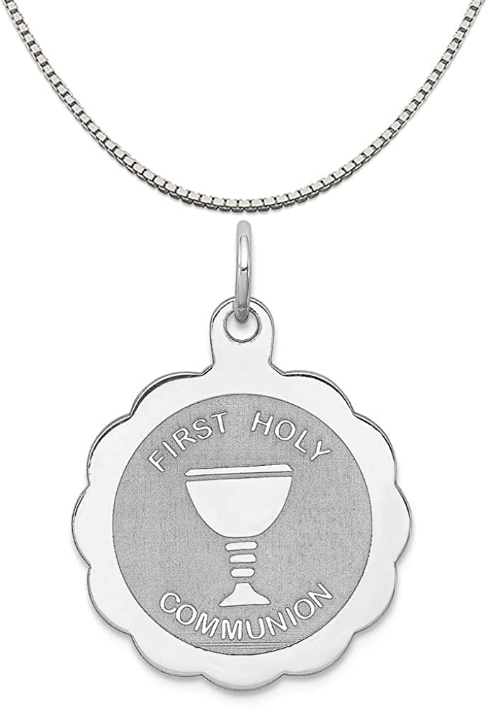 Rembrandt Sterling Silver Confirmation Charm on a Sterling Silver Rope Chain Necklace