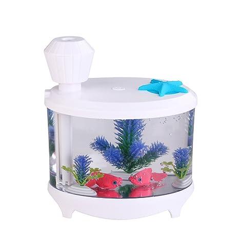 Humidificador de Aire Difusor Purificador Aroma Fabricante Niebla USB Forma de Tanque Peces - Blanco