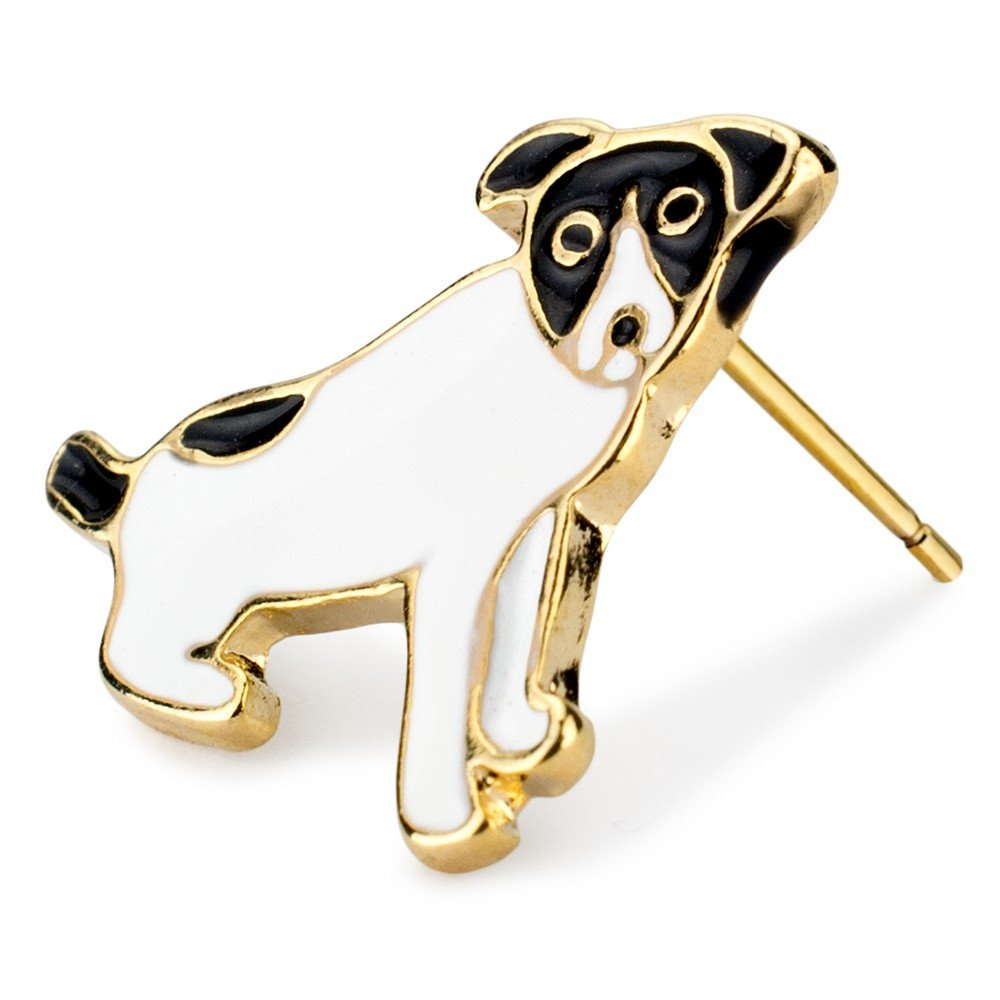 Stud Earring Dog Made With Enamel /& Tin Alloy by JOE COOL