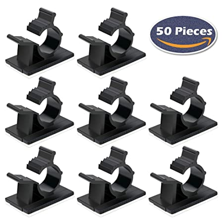 FISTE 50 Pieces Adjustable Adhesive Cable Clip,Nylon Wire Clamps ...