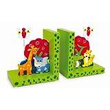 """Buchstützen """"Wilde Tiere"""" aus Holz, zwei schmucke Holzstützen, mit farbenfrohen Tiermotiven, ein toller Hingucker für das Kinderzimmer"""