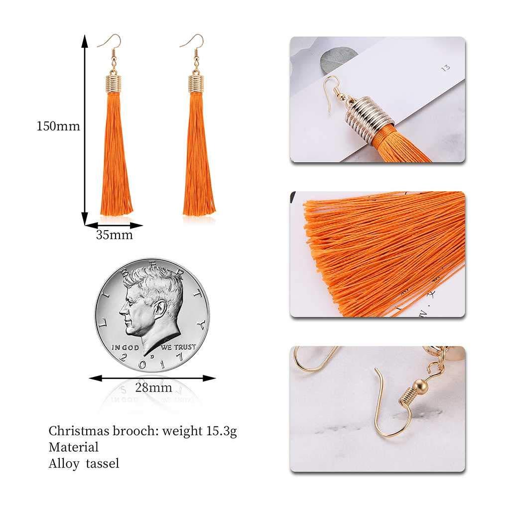 Jinzuke Women Bohemia Orange Tassel Earrings Bridal Jewelry Fringe Ear Hook Dangle Engagement Wedding Decoration