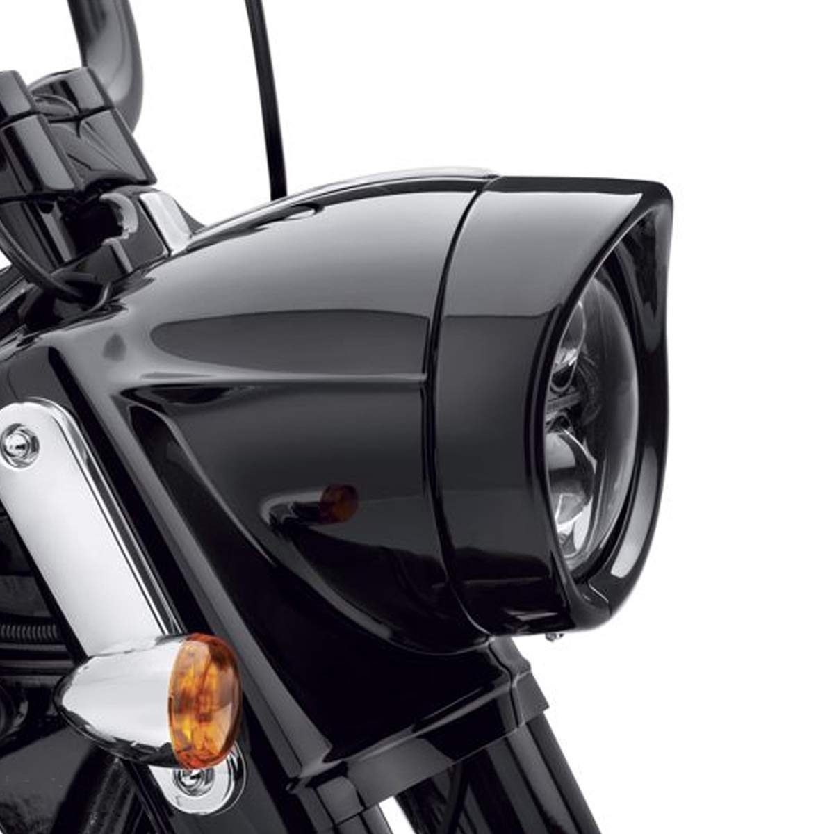 XIAOXI 5.75' Motorcycle Headlight Cover Black UV Shell Harley Davidson Trim Ring Visor or Harley Davidson 12-16 FLD 83-13 Touring Bikes 94-Later Road King