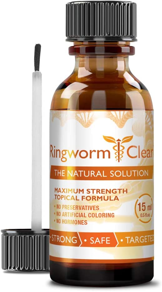 Ringworm Clear - Natural Anti-fungal Ringworm Treatment - Effectively Calms Burning and Itching - Reduces Severity and Prevents Future Fungal Infections – 1 Bottle (1 Month Supply) …