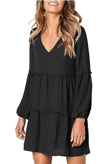 ee6cbe18282 VIVOSKY Women's Long Sleeve V Neck Ruffle Tunic Dress Loose Swing Dress  Black