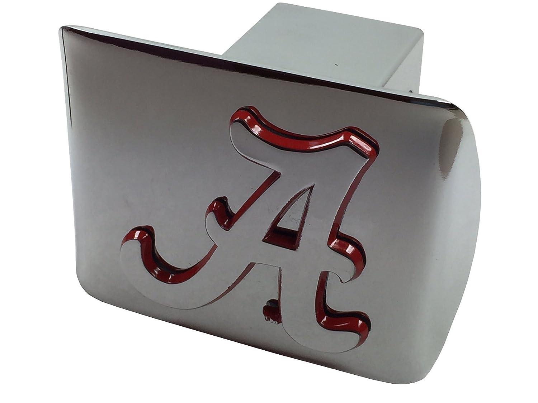 on Chrome Metal Hitch Cover AMG University of Alabama Metal Emblem Chrome with Crimson Trim