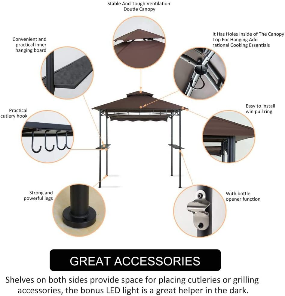 Outdoor BBQ Patio Canopy Tent with Stretchable Side Awning and LED Light CHARMELEON Double Tiered Grill Gazebo 8X 5 Brown