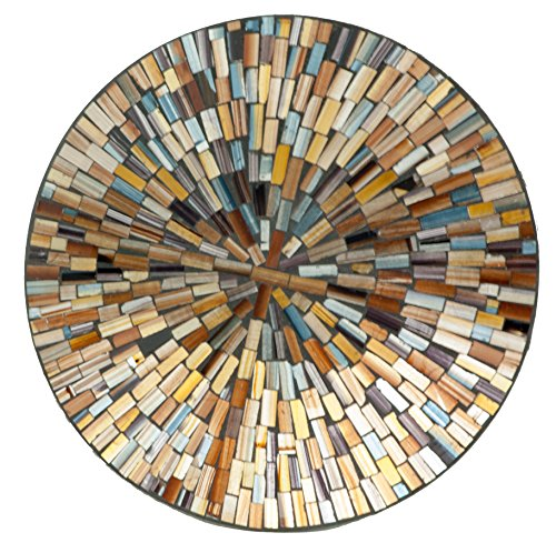 M37092 Mosaic Glass Round Plate/w Multi Gold Color -
