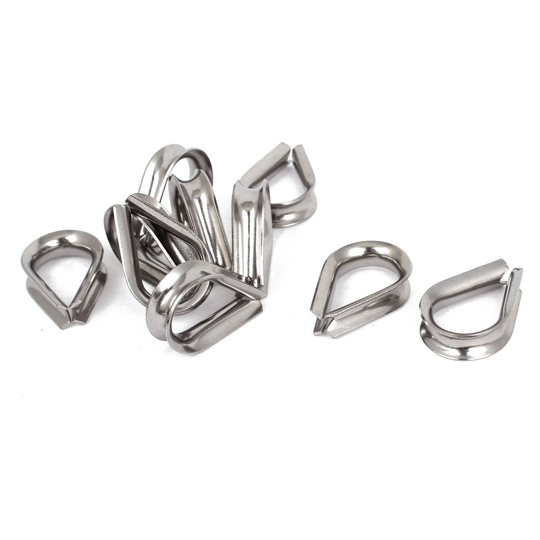 Cable Thimbles - SODIAL(R) Stainless Steel 6mm Wire Rope Cable Thimbles Silver Tone 10Pcs