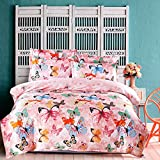 Chickwin Duvet Cover Set, Bedding Sets 3PCS Silk Satin Soft Silky Bedding Set Fitted Sheet Zipper Pillowcase Bedding Set Personality Lacing Sets (Butterfly dance, 180220/7080inch)