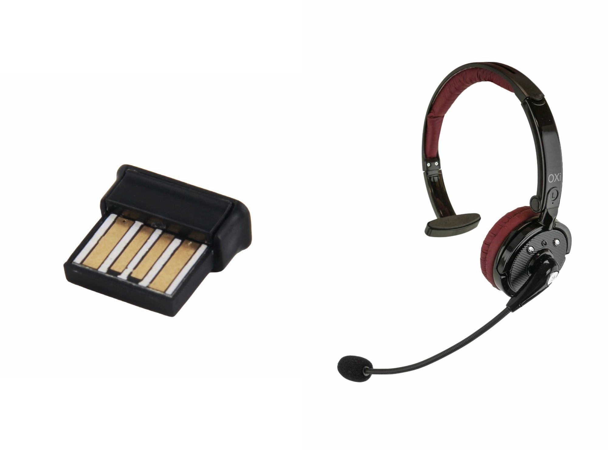 Oxi Wireless Bluetooth Headset and USB Dongle Bundle with Ear Headphones and Plug & Play Network Adapte