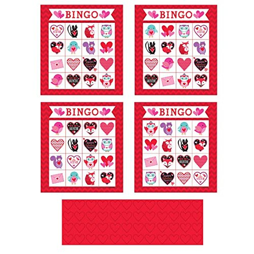 Amscan Valentine Bingo Game Party Activity (224 Piece), Red/Pink, 10