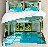 House Decor Duvet Cover Set Queen Size by Ambesonne, Indoor Swimming Pool of a Modern House with Spa Window Residential Interior, Decorative 3 Piece Bedding Set with 2 Pillow Shams