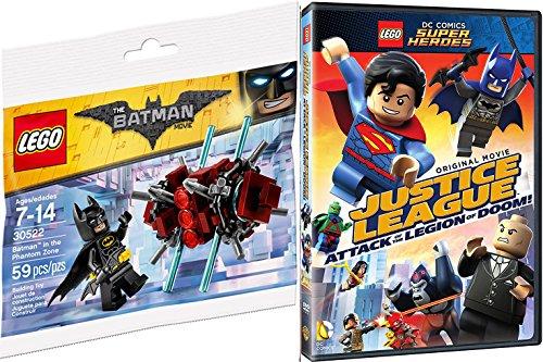 Lego Justice League Attack of the Legion of Doom! Movie & Toy Builder Bundle - Batman in the Phantom Zone mini figure Animated DVD DC Super Heroes Fun Set (Spongebob Superhero Movie)