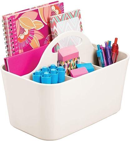 mDesign Cesta organizadora con asa para la Oficina – Práctico Organizador de Escritorio de plástico – Caja con Compartimentos portátil para Guardar Tijeras, bolígrafos y más – Crema: Amazon.es: Hogar