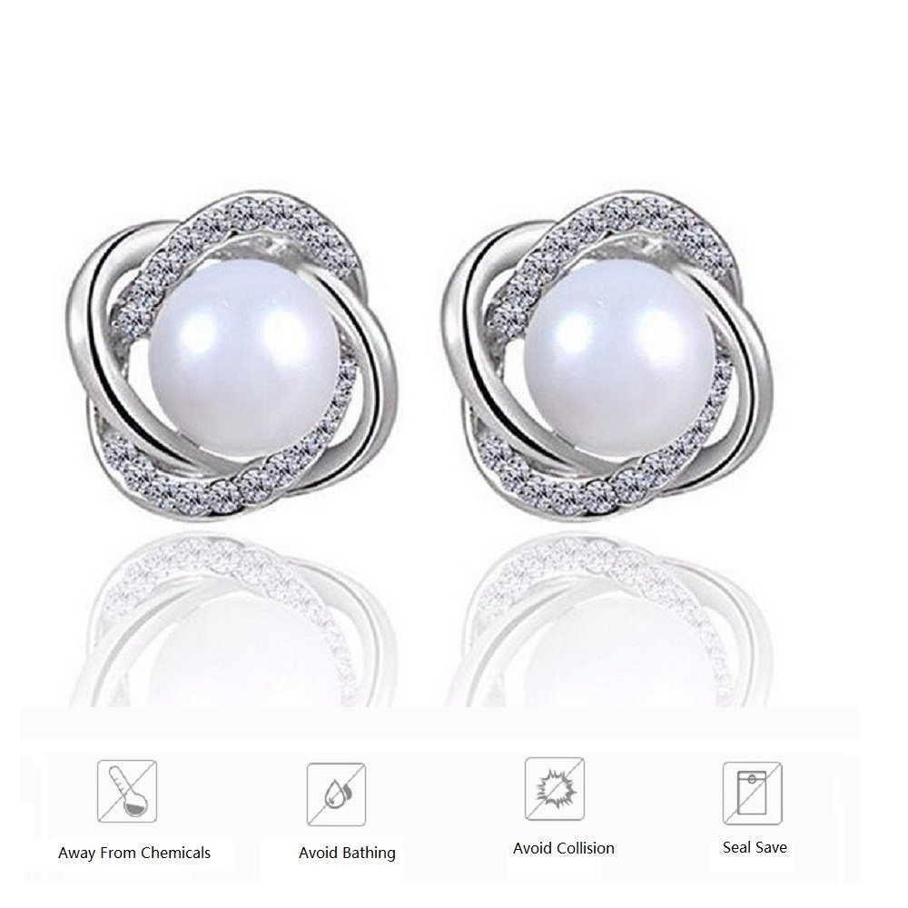 Sterling Silver Freshwater Cultured Pearl and Cubic Zirconia Spiral stud Earrings by Lam Sence (Image #7)