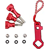 Thumb Screws Set for Gopro - 3 Aluminum Thumb Screw Bolts (2 Short, 1 Long) + 1 Easy Open Tool Red- By MEME