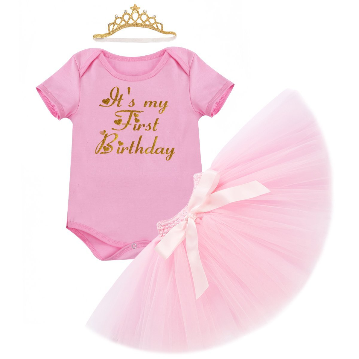 62b85aa373c9 1st Birthday Outfit Baby Girls Unicorn Bodysuit Short Flutter Sleeve Romper  + Ruffle Tulle Skirt + Crown Headband Cake Smash Dresses up Party Clothes  3Pcs ...