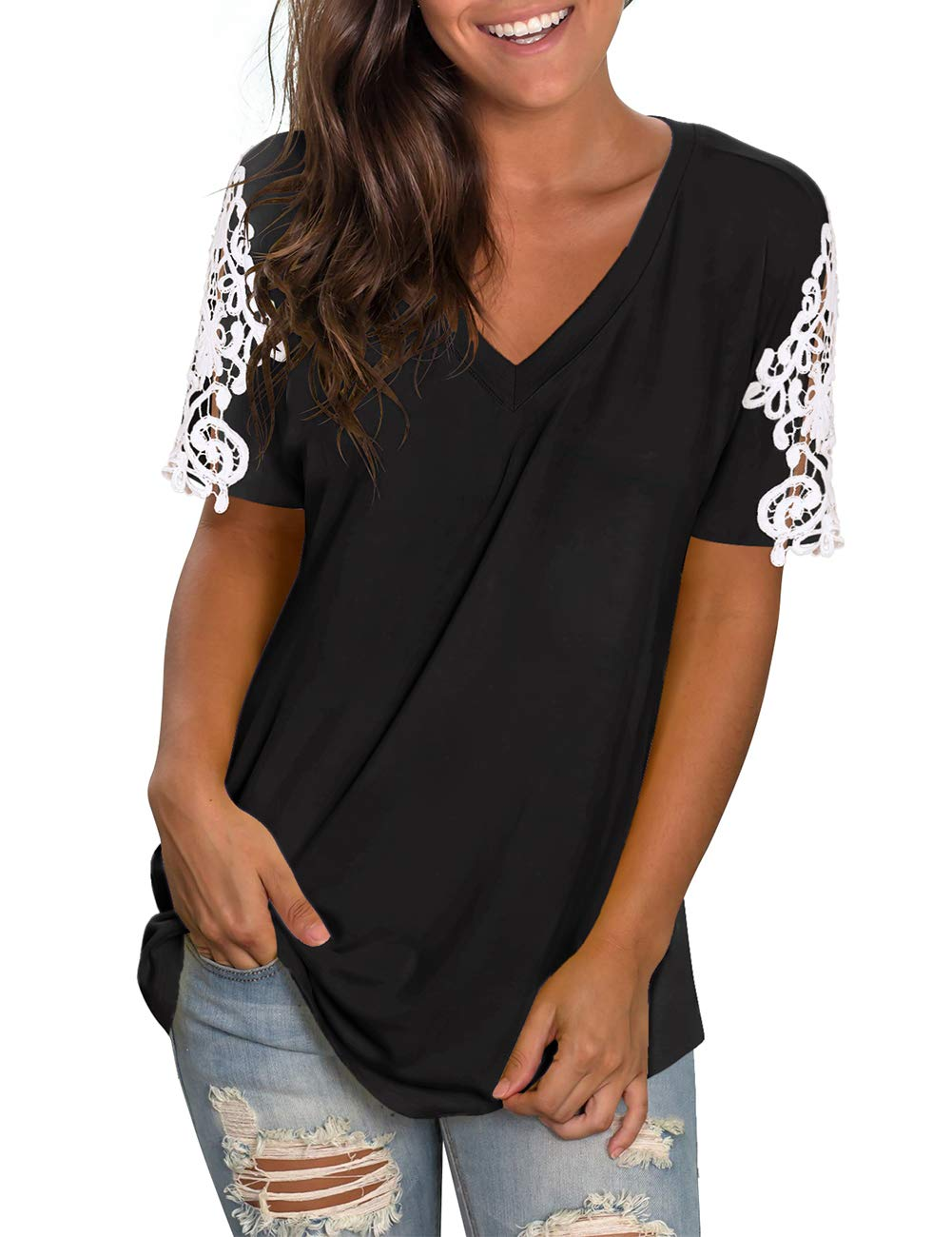 NIASHOT Womens Shirts V Neck Short Sleeve Lace Tunics Casual Loose Tops