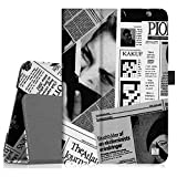 Fintie Folio Case for ASUS MeMO Pad 7 ME176CX / ME176C Tablet Premium Vegan Leather Slim Fit Stand Cover With Stylus Holder, Newspaper