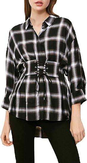 Mujer Shirt Manga Larga V-Cuello Camisas Cómodo Formal Blusas ...
