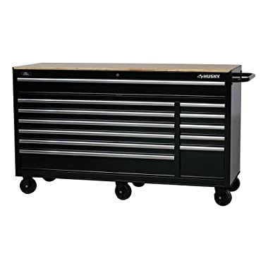 Husky Drawer Heavy-Duty Tool Chest (66 in. W 24 in. D 12-Drawer Heavy-Duty Mobile Workbench, Black)