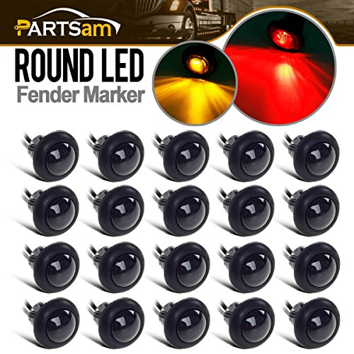 Partsam 20x Amber/Red Truck Trailer Boat 3/4 Round Led Light Round Marker Clearance + Grommet Smoke Lens