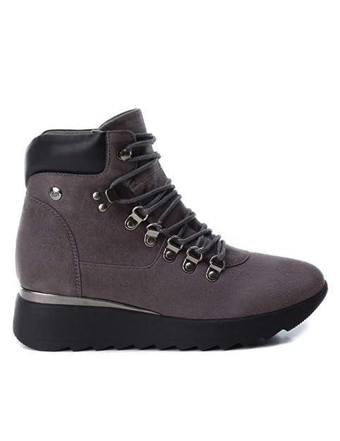 Botín Cuña XTI Mujer Serraje Gris Cordón 48487: Amazon.es: Zapatos y complementos