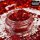 GlitterWarehouse Red Chunky Glitter Loose Holographic Solvent Resistant Cosmetic Grade Mermaid Glitter (20g Jar)