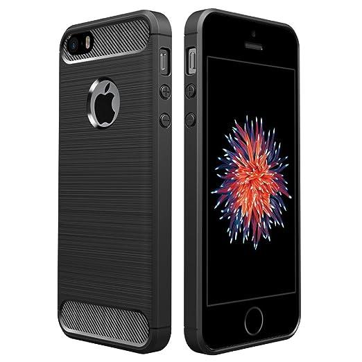 Simpeak Ersatz für iPhone SE Hülle Schwarz, Premium Weiche Karbonfaser Elastisch Schützendes Rückseiten-Case Ersatz für iPhon