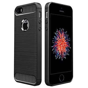 Simpeak Funda para iPhone SE/5S/5, Funda Apple iPhone 5S/SE/5 Carcasas para iPhone 5S/5 Funda Cases Suave TPU Anti Deslizamiento, Negro