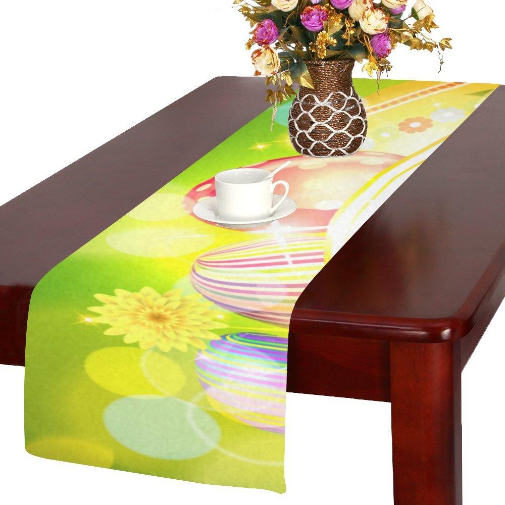 Artsadd Happyイースターカラフルな卵キッチンダイニングテーブルランナー14 x 72インチforディナーパーティー、イベント、装飾   B06XDB9KMQ