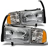 95 dodge 2500 led headlights - Dodge Ram Pickup 1500 2500 3500 Headlights w/ Corner Replacement Driver + Passenger Side Pair Set
