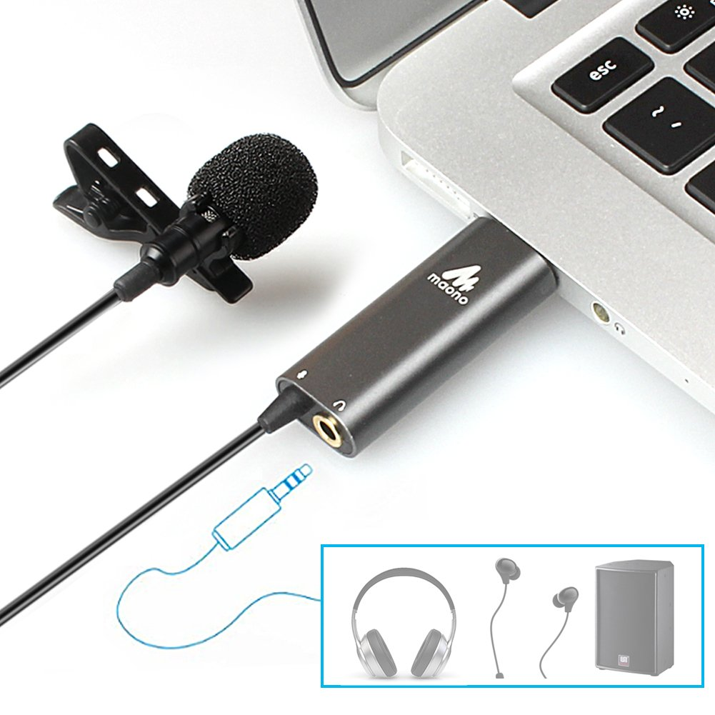 USB Lavalier Microphone-MAONO AU-411 Omnidirectional Condenser Lapel Mic Hands Free Shirt Collar Clip-on Microphone Plug&Plug for PC Computer, Laptop, YouTube, Skype Recording, Live Broadcasting