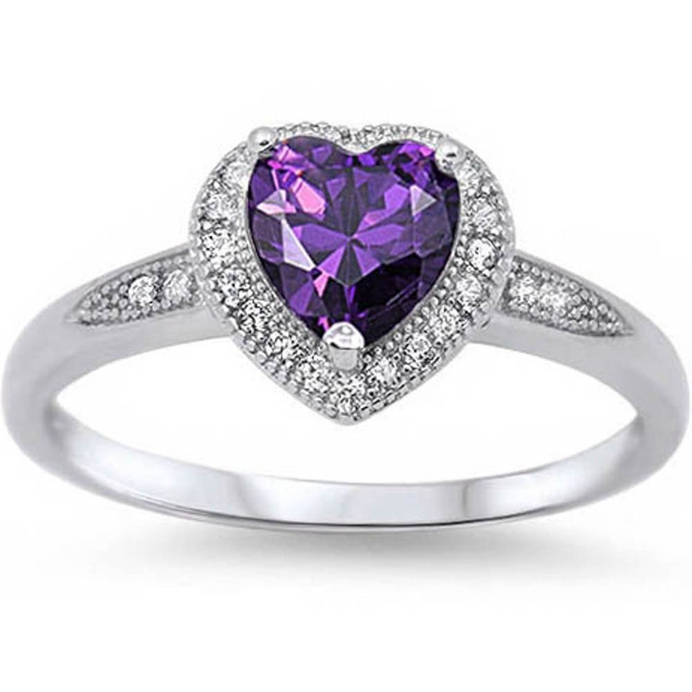 Blue Apple Co. Halo Style Wedding Engagement Heart Promise Ring Simulated Purple Amethyst Round CZ 925 Sterling Silver