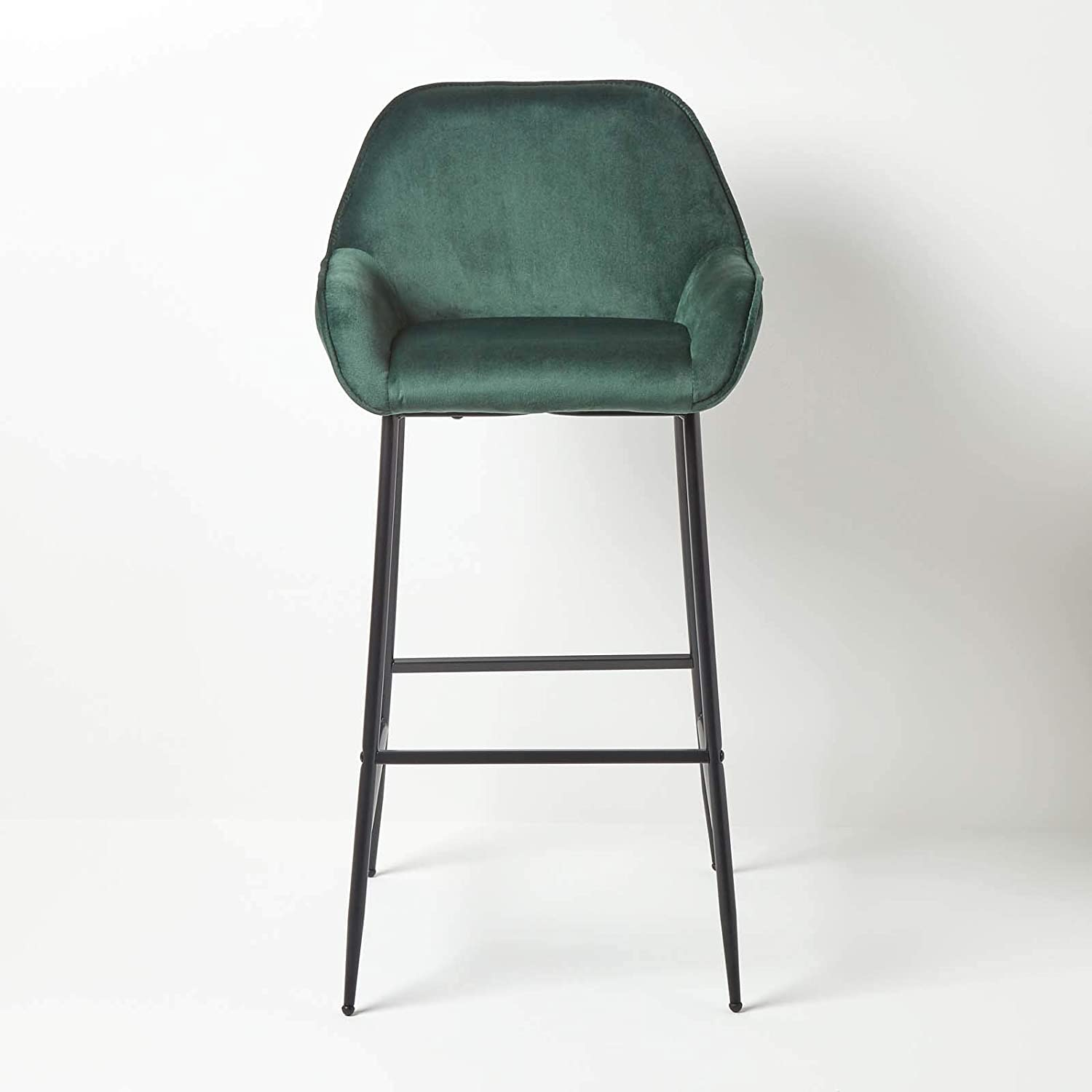 Seat 77cm Tall HOMESCAPES /'Eton/' Emerald Green Velvet Bar Stool Chair On-Trend Kitchen and Breakfast Barstool with Backrest On Metal Legs with Footrest Upholstered High Counter Dining Chair