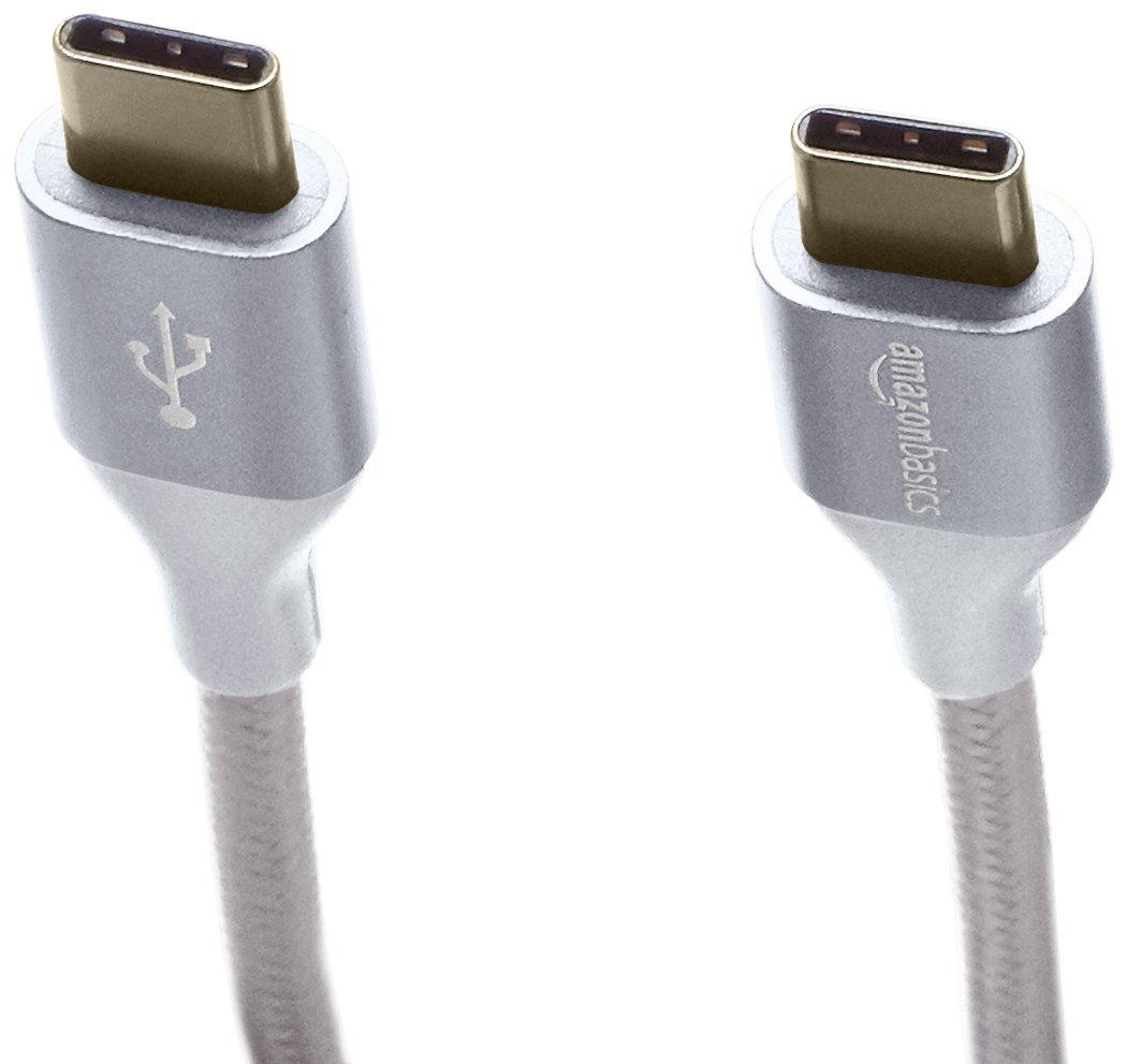 AmazonBasics Double Braided Nylon USB Type-C to Type-C 2.0 Cable   6 feet, Silver by AmazonBasics (Image #4)
