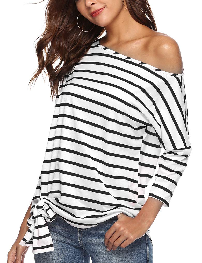 Womens Stripe Patchwork 3/4 Sleeve Casual Autumn Off The Shoulder T Shirts Blouse Tops