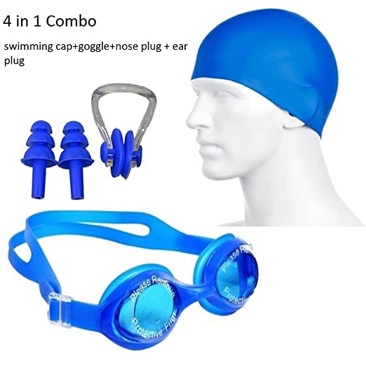 Shag 4 in 1 Combo Swimming Kit for Goggle Cap Nose Plug and Ear Clip