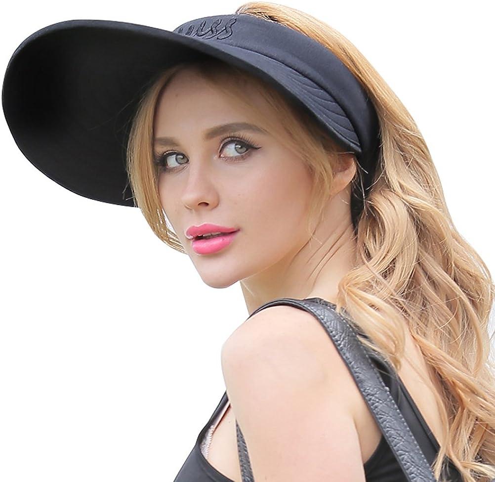 CACUSS Womens Summer Sun Hat Large Brim Visor Adjustable Velcro Packable UPF 50+