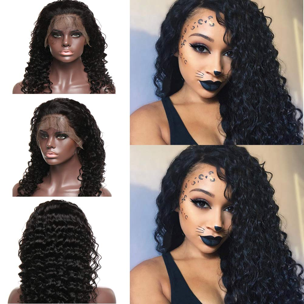 Amazon Com 14 Inch Human Hair Lace Front Wig Deep Wave With Baby Hair 130 Density Long Wavy Virgin Human Hair Wig Pre Plucked Glueless For Black Women 1b Natural Black Beauty