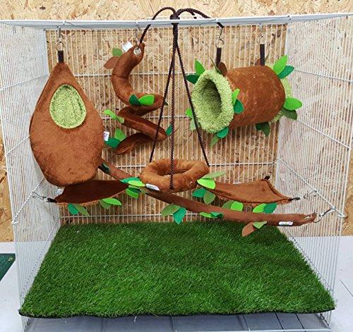 brown-sugar-pet-store-7-piece-sugar-glider-cage-set-forest-pattern-light-brown-color