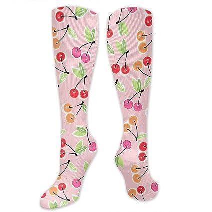 6d91b9b23e2 Amazon.com  RobotDayUpUP Pink Cherry Pattern Womens Long Socks ...