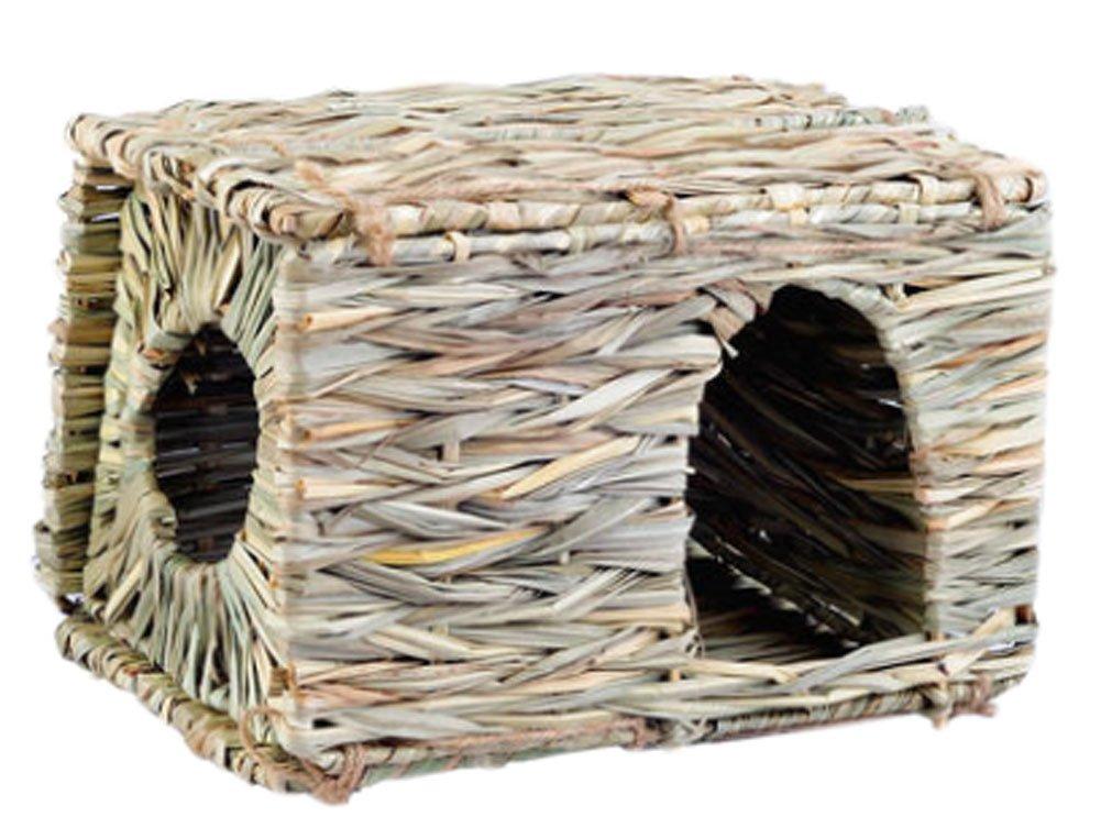 Natural Outdoor Rabbit Hutch Straw Mattress Hand Made Rectangl Straw House