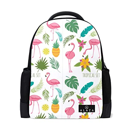 498cb57254b Amazon.com  Lightweight Oineapple with Pink Flamingos Polyester Backpack  School Book Bag Travel Daypack  Computers   Accessories